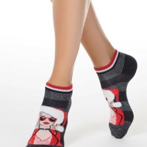 Sneakersokken lurex, kerstpatroon, fashion dame-in-kerstmuts, rood-wit, Axelles