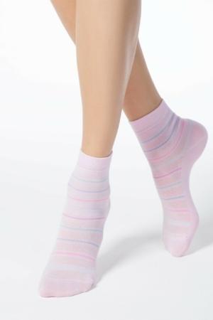Sokken gestreept ingeweven-patroon, roze, pink (088)