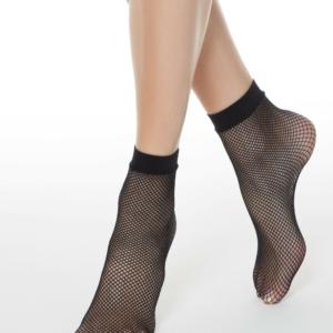 Visnet sokken, elastisch enkelboord nero (zwart)
