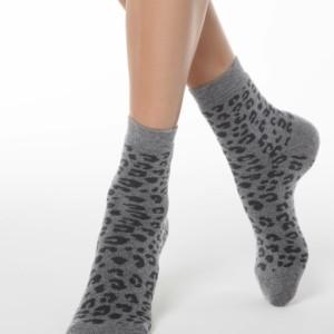 Warme sokken dierenprint, gevoerd badstof zool, zwart-grijs  (118).