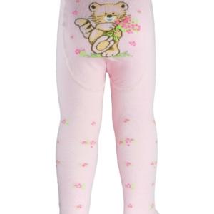Baby maillot gekleurde bloempjes dierenprint achteraan, pastel roze, 0-12 maand