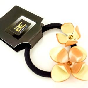 Luxe haarelastiek Camelia's, creme beige, in-geschenkdoos, AXELLES