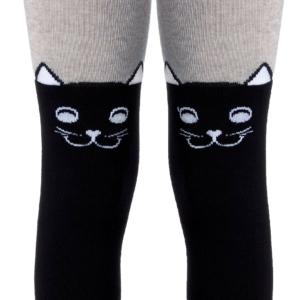 Kindermaillot in katoen blend, katjes-overknee-zwart-grijs