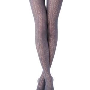Wollen panty 3D-patroon STYLE, fumo, lichtgrijs