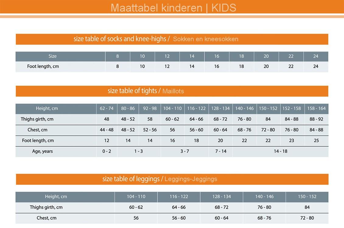Maattabel kinderen 0-18 jaar (size guide Axelles)
