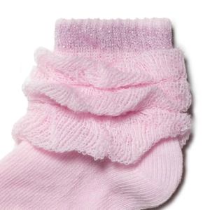 Babysokken katoen glitter in-kant, pink roze, details, AXELLES