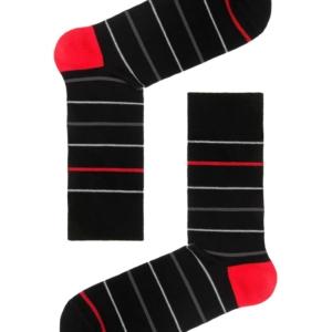 Herensokken fijn gestreept, zwart, wit, rood, AXELLES