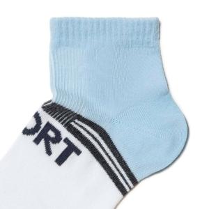 Kinderen sneakersokken SPORT (gestreept), wit-blauw, AXELLES