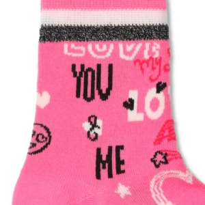 Kindersokken LOVE AMORE text patroon, pink rood