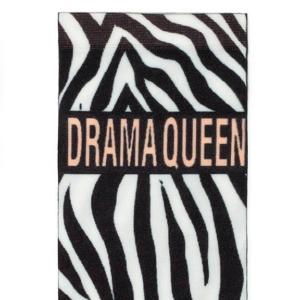 Ondoorschijnend panty-sokjes zebra patroon, DRAMA QUEEN tekst (70-DEN), zwart-wit, 047