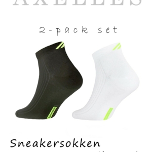 2-pack set Sneakersokken heren, geweven patroon, zwart-wit, AXELLES