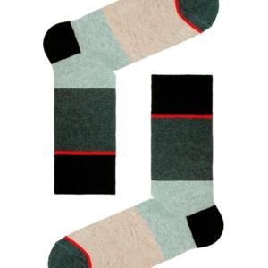 Herensokken gekleurd gestreept, grijs, beige, rood