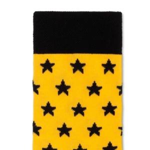 Herensokken sterren patroon, zwart-geel, detail