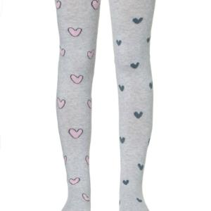 Kinderenmaillot hartjes patroon (mismatched), grijs, pink rose, AXELLES