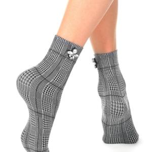 Ondoorschijnend panty-sokjes geruit patroon met steentjes (70-DEN), applicatie