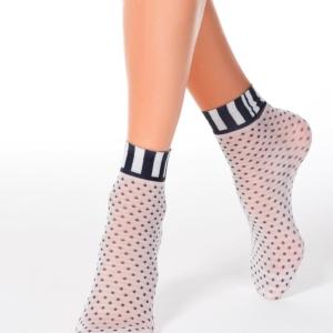 Panty sokjes gestipt, dots, geruit enkelboord, ondoorschijnend (70-DEN), AXELLES