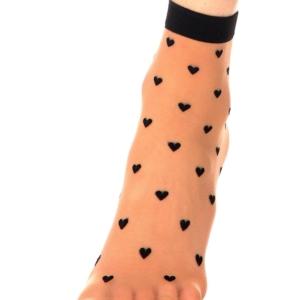 Nylon pantysokjes hartjes-patroon, elastisch-boord, bronze-zwart, Axelles