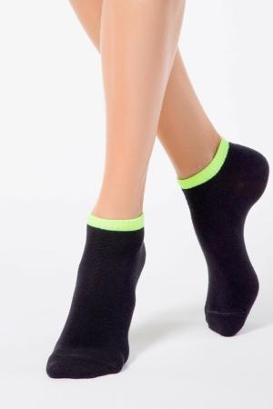 Sneakersokken dames gekleurd-boord, zwart-groen
