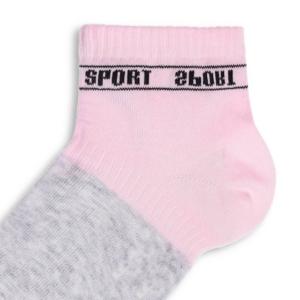 Sneakersokken kinderen SPORT tekst, grijs pink roze, AXELLES