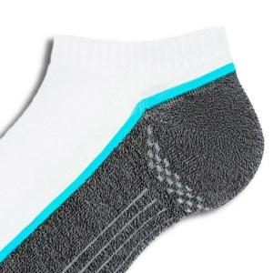 Sneakersokken heren contrast zool, wit-grijs-turquoise, details, AXELLES