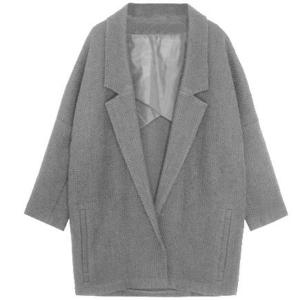 Double-breasted jas met driekwart-mouw, gewichtloss, grijs