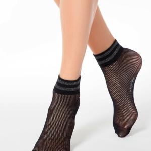 Visnet sokken gestreept glitter-boord, net-structuur, zwart, AXELLES