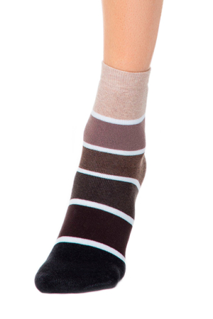 Dikke sokken gevoerd, oplopend gestreept, zwart, bruin, beige, details 212, AXELLES