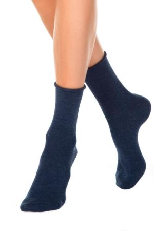 Katoenen sokken opgerold boordje, donkerblauw, AXELLES