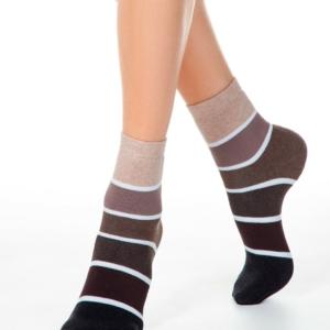 Dikke sokken gevoerd, oplopend gestreept, zwart, bruin, beige, 212, AXELLES