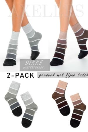 Dikke sokken gevoerd, oplopend gestreept, zwart, grijs, bruin, 2-paar cadeauset, AXELLES