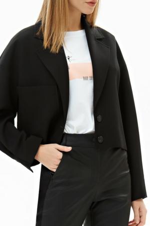 Blazer kort zwart met rode voering, opgestikt zak, broek eco-leder, AXELLES