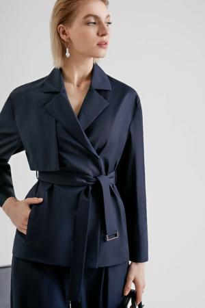 Blazer wollen blend, 1029J, culotte wide-fit, office look, donkerblauw, AXELLES