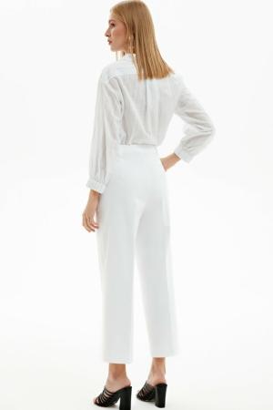 Culotte effen wit (regulair-fit), blouse shirt, achterkant, AXELLES