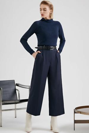 Culotte wollen blend wide-fit, office broek, blauw, AXELLES