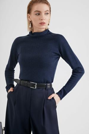 Culotte wollen blend wide-fit, office broek, donkerblauw, AXELLES