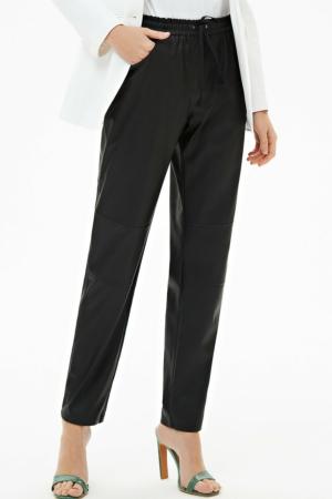 Eco-leder broek met taille-elastiek, zwart, AXELLES