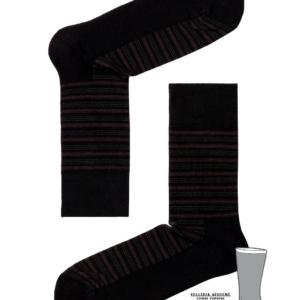Herensokken gestreept, dubbele zool (gevoerd), zwart, AXELLES