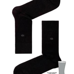 Herensokken met dubbele zool (gevoerd), zwart, 017, effen, logo, AXELLES