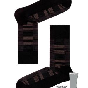 Herensokken gestreept met dubbele zool (gevoerd), zwart, details, 013, AXELLES