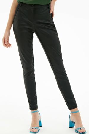 Skinny fit broek faux-leder, contrast zijbies, voorkant, AXELLES